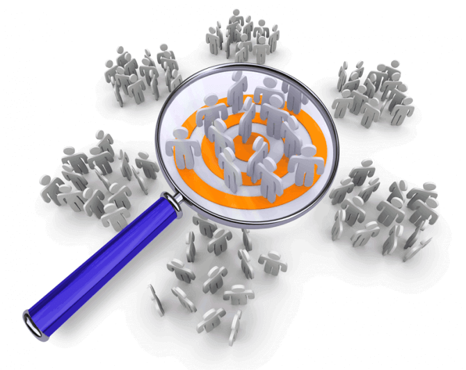Lupa azul sobre un grupo de personas específico