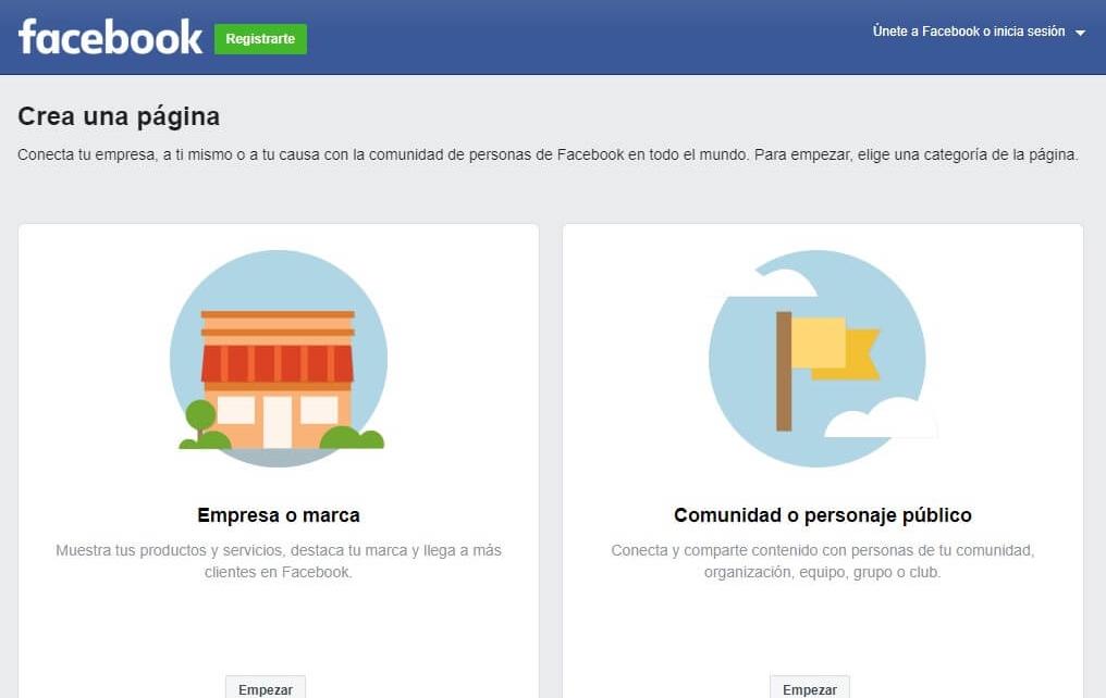 Página de Facebook para crear una nueva página de fans